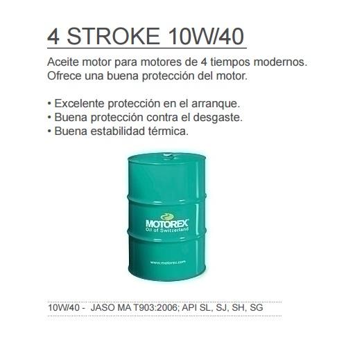 ACEITE MOTOREX 4 STROKE 10W40 BIDON 60 L.