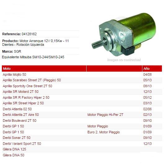 MOTOR ARRANQUE PIAGGIO-GILERA 12V 0,25KW