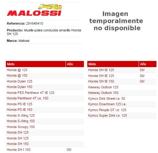 MUELLE EMBRAGUE MALOSSI HONDA SH 125 AMARILLO