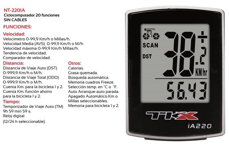 CUENTAKILOMETROS BICICLETA TKX NT-220IA 20F SIN CABLE