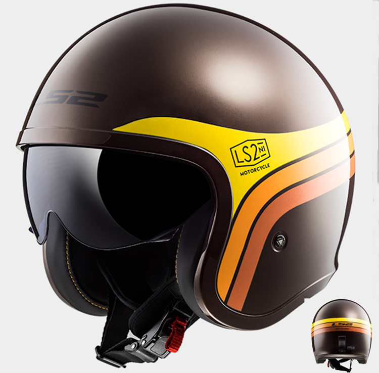 CASCO MOTO LS2 JET SPITFIRE OF599 SUNRISE MARRON NARANJA AMARILLO L