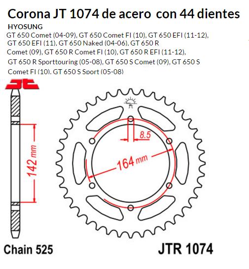 CORONA JT 1074 de acero con 44 dientes