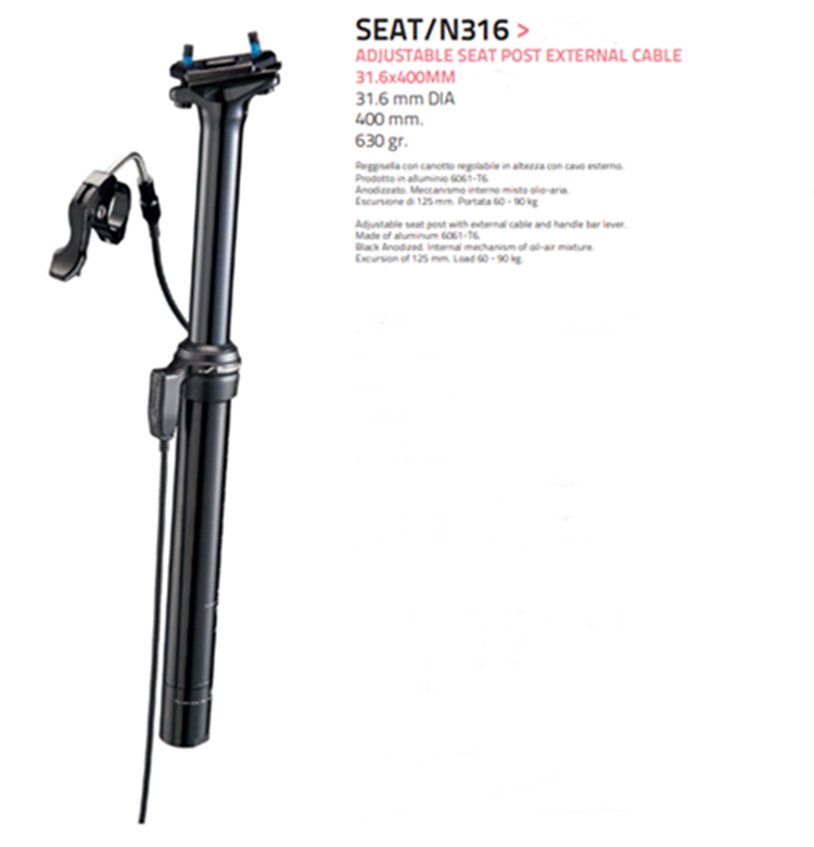 TIJA SILLIN BICICLETA REGULABLE 31,6 CABLE EXTERIOR MAX 100KGS