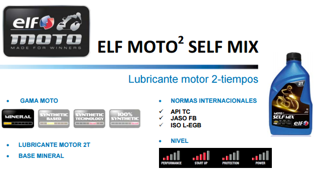 ACEITE ELF MOTO 2 SELF MIX 1 L.