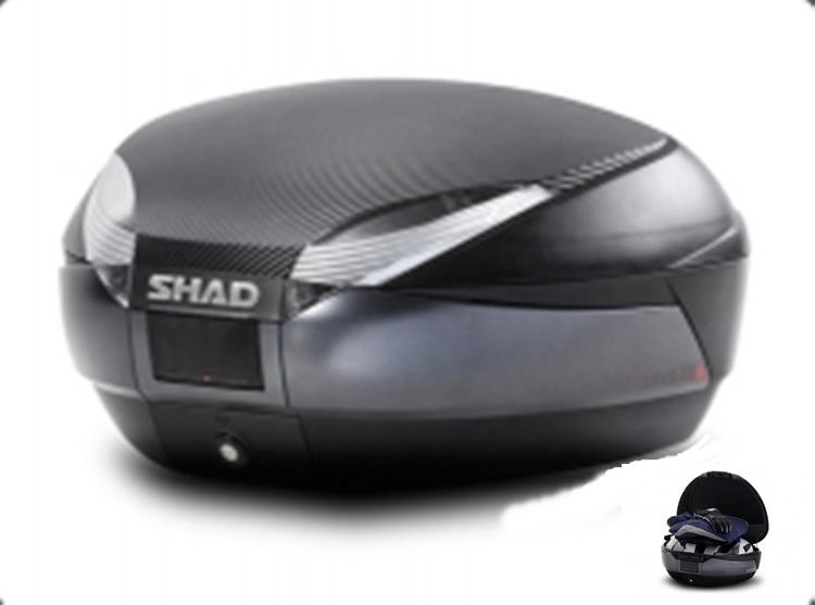 BAULETE MOTO SHAD SH48+CARBON+RESPALDO SHAD