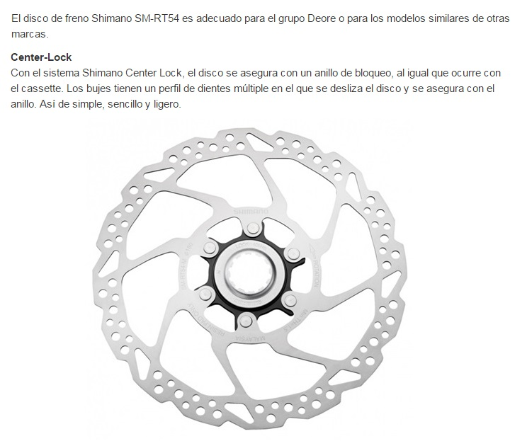 DISCO FRENO SHIMANO SMRT 54 180 MM. RESINA  C.L.