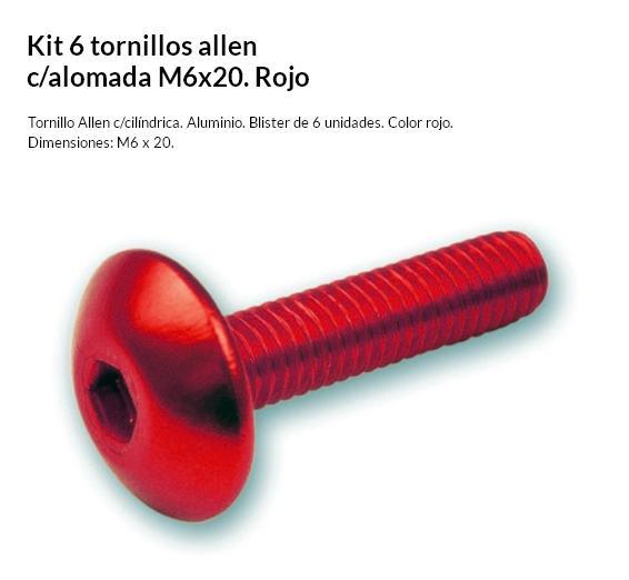 TORNILLO 6 X 20 C/ALOMADA ROJO KIT