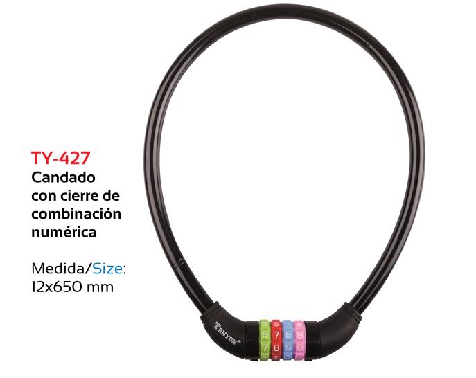 CANDADO BICICLETA TKX COMBINACION 12 X 0,65  MT ACERO NEGRO