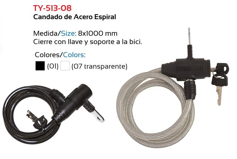 CANDADO BICICLETA TKX ESPIRAL 8 X 1000