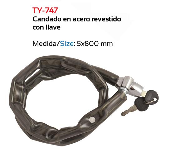CANDADO BICICLETA TKX LLAVE 5 X 0,80 MT REVESTIDO ACERO