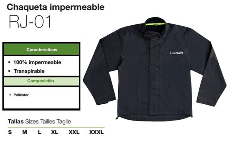 CHAQUETA UNIK RJ01 IMPERMEABLE XXL NEGRO