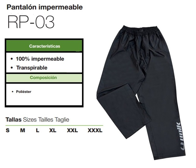 PANTALON UNIK IMPERMEABLE RP03 XL NEGRO