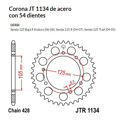 CORONA JT 1134 de acero con 54 dientes