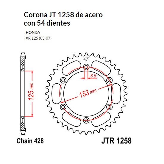 CORONA JT 1258 de acero con 54 dientes