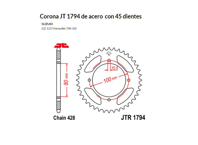 CORONA JT 1794 SUN 2314 45 dientes