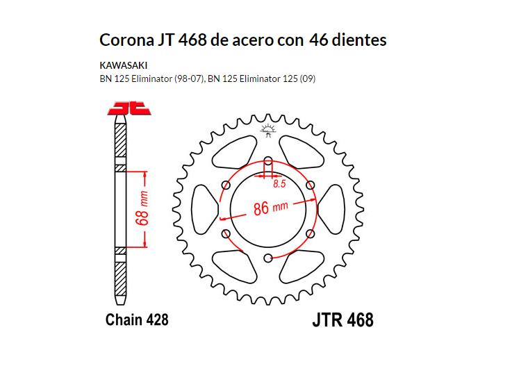 CORONA JT 468 de acero con 46 dientes