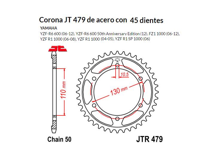 CORONA JT 479 de acero con 45 dientes