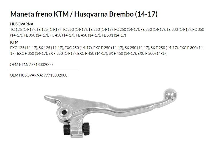 Maneta freno KTM/HUSQVARNA BREMBO (14-17)