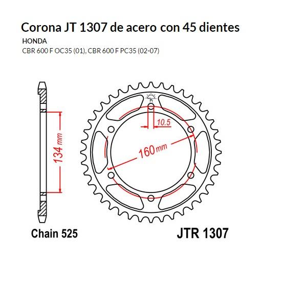 CORONA JT 1307 de acero con 45 dientes