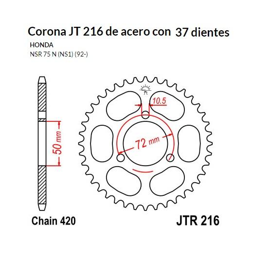 CORONA JT 216 de acero con 37 dientes
