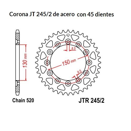 CORONA JT 245/2 de acero con 45 dientes