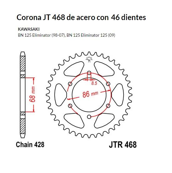 CORONA JT 305 DE ACERO CON 47 DIENTES