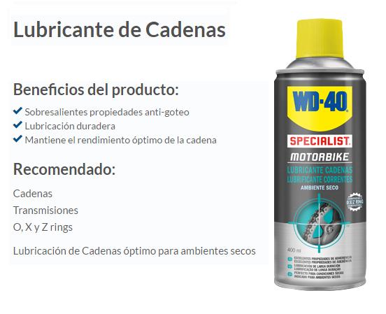 LUBRICANTE CADENA WD-40 AMBIENTE SECO 400 ML