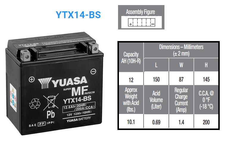 BATERIA YUASA YTX 14 B S