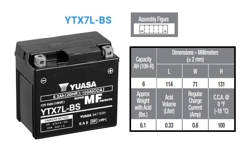 BATERIA YUASA YTX 7 L B S