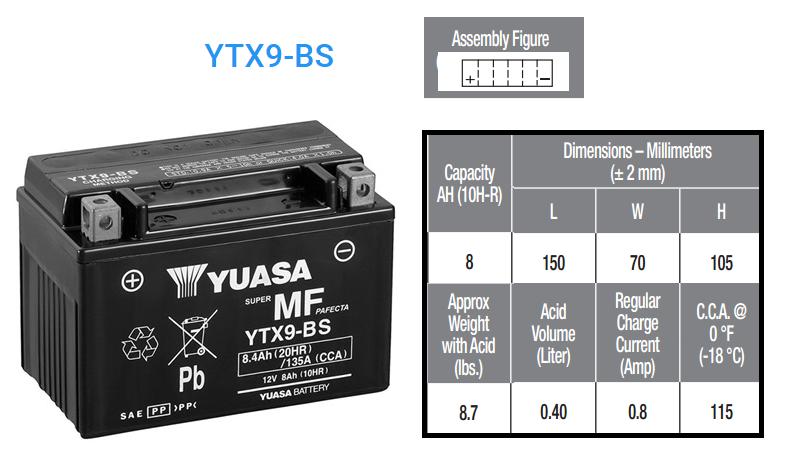 BATERIA YUASA YTX 9 B S