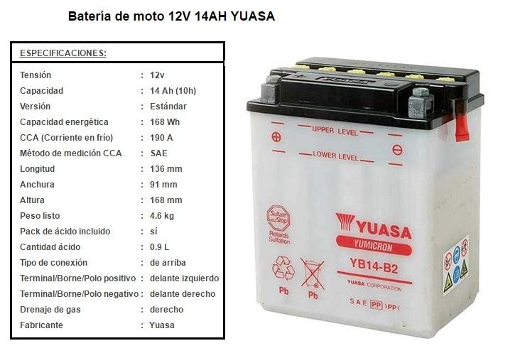 BATERIA YUASA YB 14 B 2