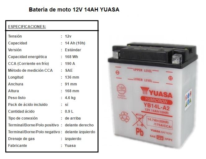 BATERIA YUASA YB 14 L A 2