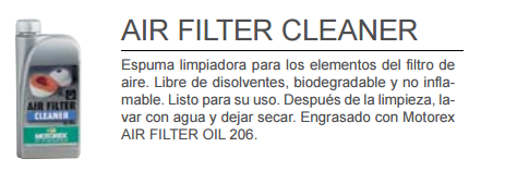 ACEITE MOTOREX AIR FILTER CLEANER 1L.