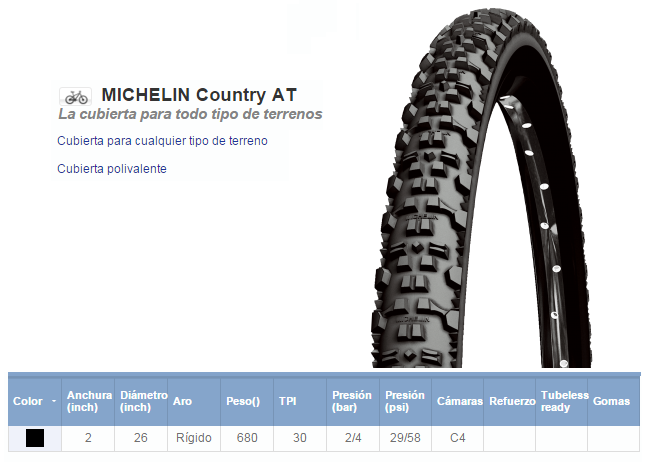 CUBIERTA BICICLETA MICHELIN 26X2.00 COUNTRY A.T.