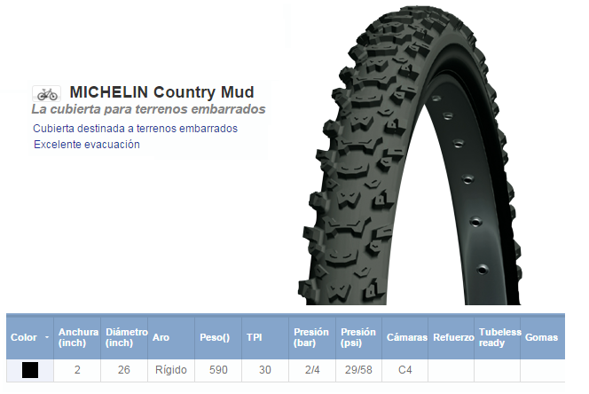 CUBIERTA BICICLETA MICHELIN 26X2.00 COUNTRY MUD NR