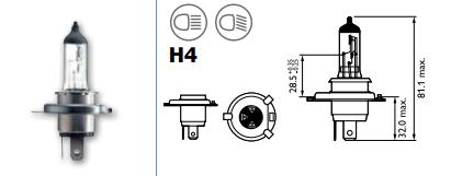 LAMPARA MOTO 12V 60W 55W H4 HALOGENA