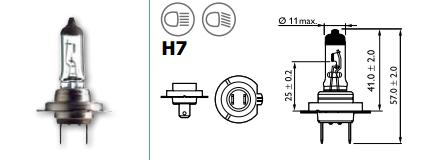 LAMPARA 12V 55W H7 HALOGENA PH VISION