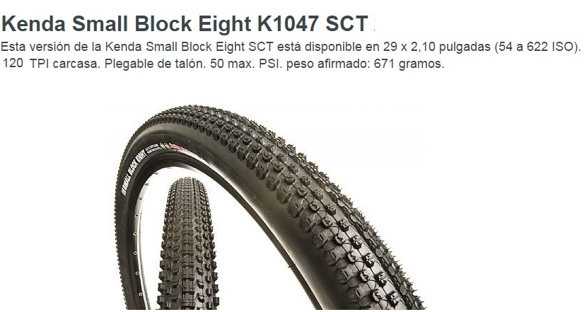 CUBIERTA KENDA 29-210 SMALL BLOCK EIGHT K1047 60TPI