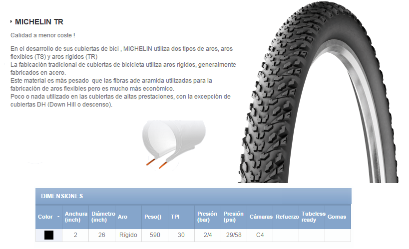 CUBIERTA BICICLETA MICHELIN 26X2.00 COUNTRY DRY2