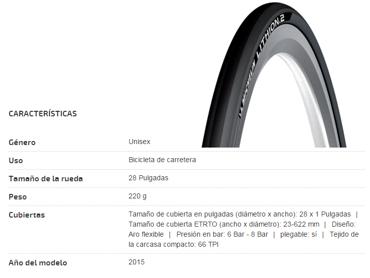 CUBIERTA MICHELIN 23-622 (700X23C) LITHION 2 DARK GREY TS V2
