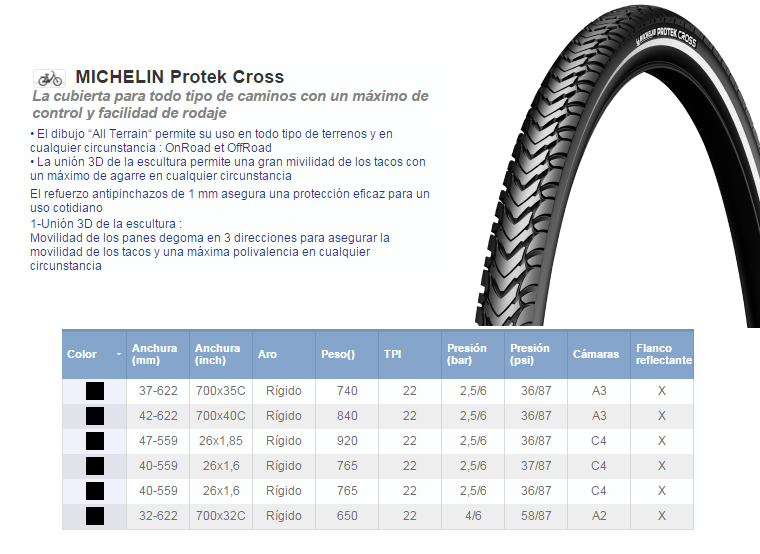 CUBIERTA MICHELIN 42-622 (700x40C) PROTEK CROSS FR
